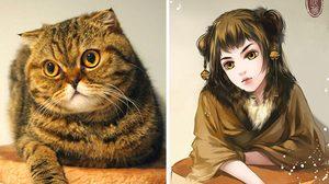 อยากเกาคาง! ศิลปินวาดภาพสาวสวยที่ดึงคาแร็คเตอร์มาจากน้องแมวสุดแบ๊ว