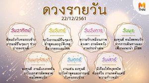 ดูดวงรายวัน ประจำวันเสาร์ที่ 22 ธันวาคม 2561 โดย อ.คฑา ชินบัญชร