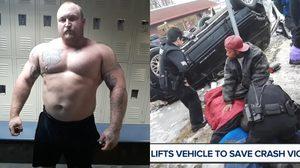หล่อมากๆ วีรบุรุษหุ่นหมี ยกรถจีปหนัก 2 ตัน ช่วยคนเจ็บใต้รถ