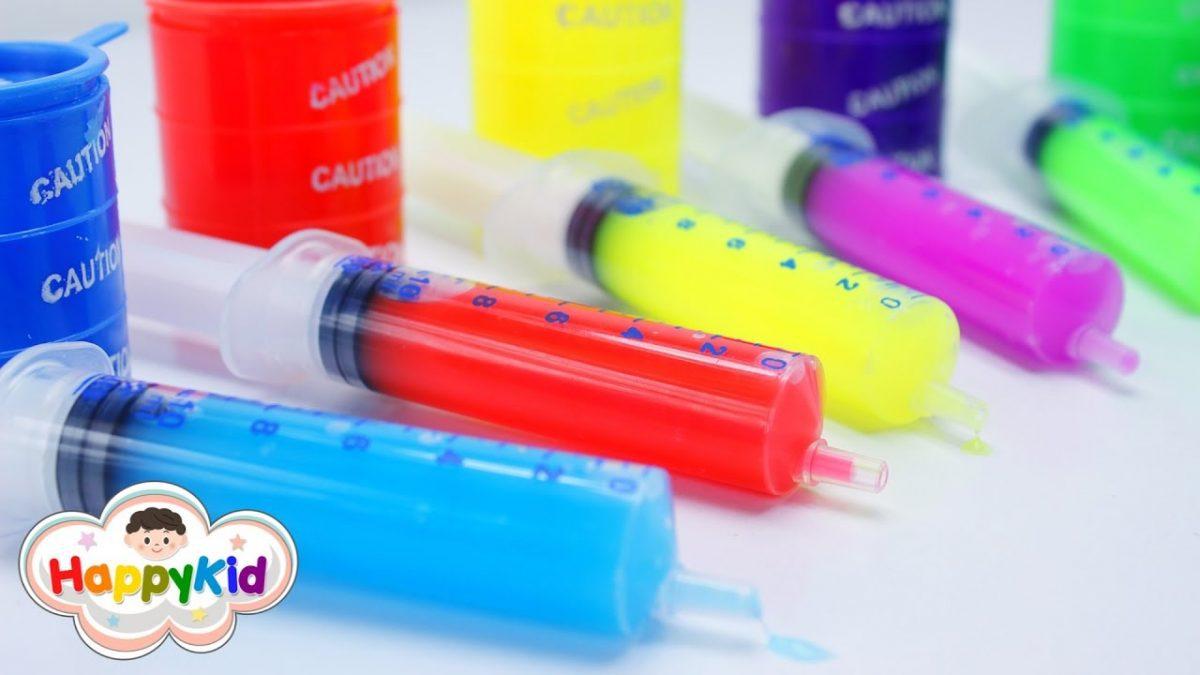 สไลม์เข็มฉีดยา | เรียนรู้สีภาษาอังกฤษ | น้ำลายเอเลี่ยน | Learn Color With Slime Injections