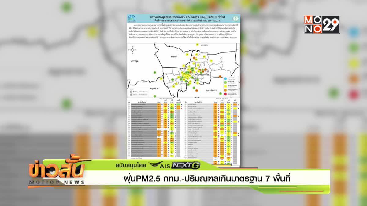 ฝุ่น PM2.5 กทม.-ปริมณฑล เกินมาตรฐาน 7 พื้นที่