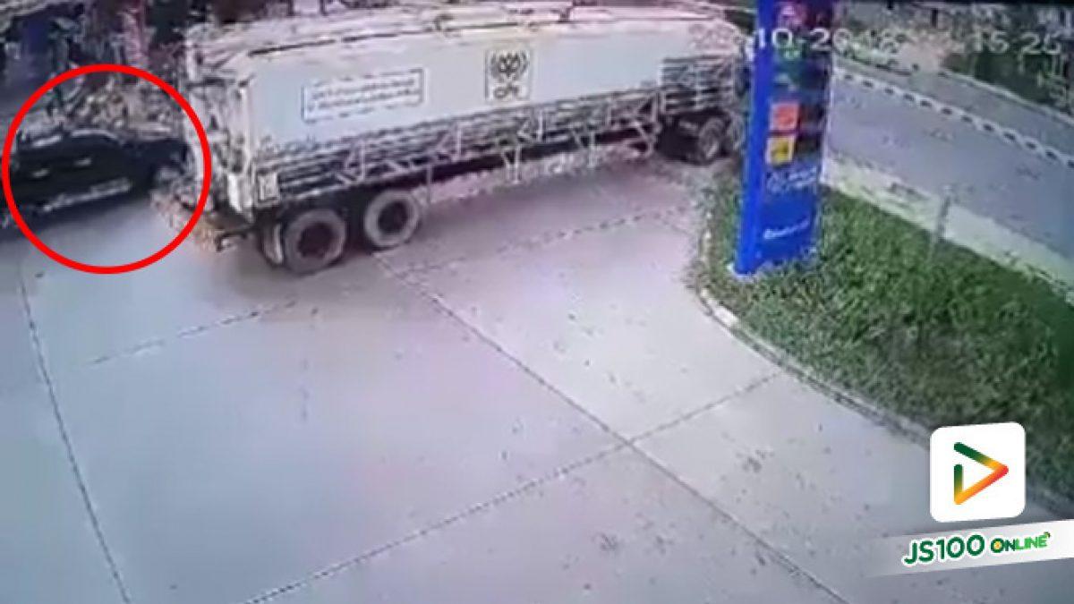 เตือนภัย!! รถใหญ่กำลังเลี้ยวออก อย่าแทรกออกทางซ้ายอาจเกิดอุบัติเหตุได้ (1-11-61)