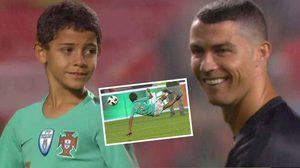 หล่นใต้ต้น! โรนัลโด้ ยิ้มแฉ่งหลังลูกชายโชว์ลีลาต่อหน้าแฟนบอล (คลิป)