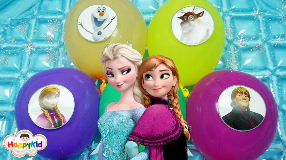 เพลง Finger Family #8 | เจาะลูกโป่ง Frozen, Elsa, Anna, Olaf | Learn Color With Frozen Balloon