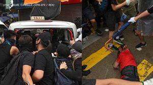 นาทีรถแท็กซี่ขับพุ่งชนม็อบ กลุ่มผู้ประท้วงรุมประชาทัณฑ์คนขับ-ทุบรถเละ !! (ชมคลิป)