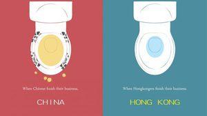 ภาพอิลลัสเตรชั่น เทียบความต่างระหว่าง จีน เเละ ฮ่องกง โดยศิลปินนิรนาม