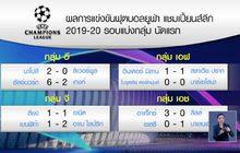 ผลการแข่งขันฟุตบอลยูฟ่า แชมเปี้ยนส์ลีก รอบแบ่งกลุ่ม 18-09-62