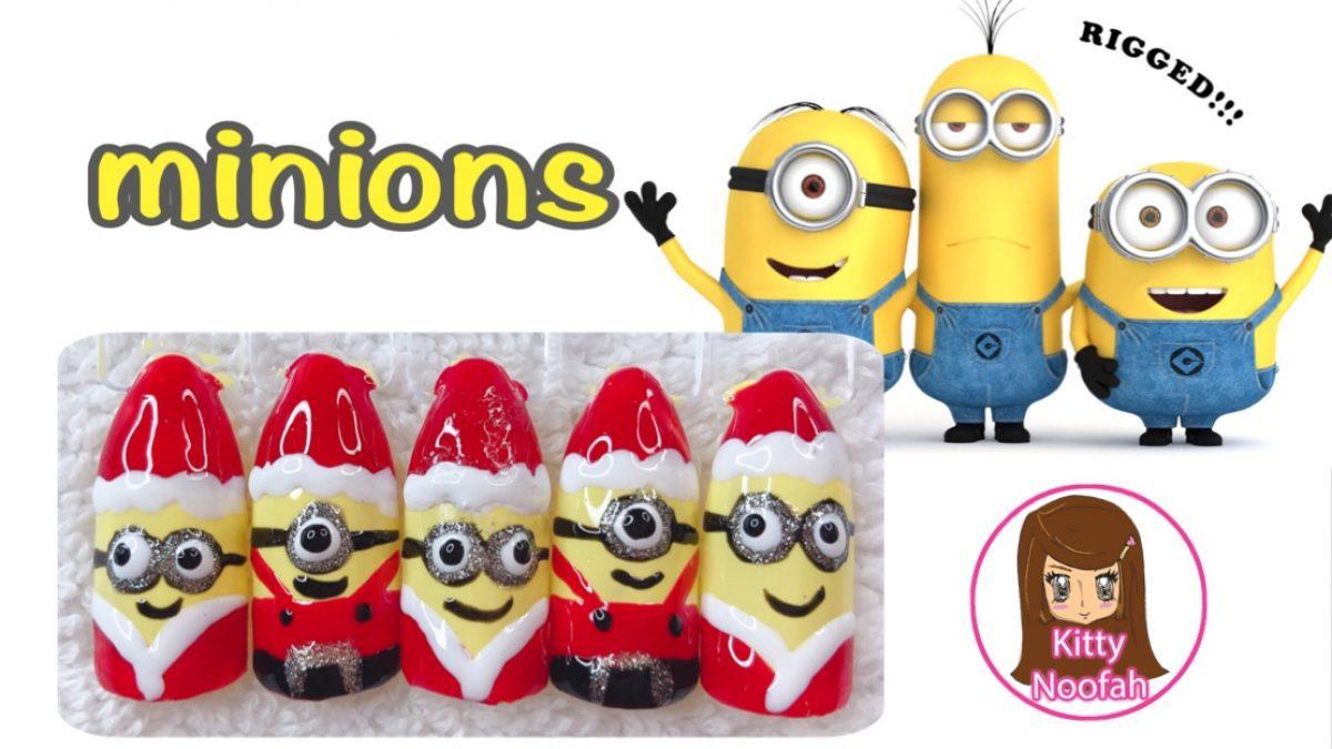 ไอเดีย ทำเล็บลายการ์ตูนน่ารักๆ ลายมินเนี่ยน Minion ต้อนรับวันคริสมาส ง่ายๆด้วยตัวเอง