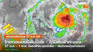 พยากรณ์อากาศ –  27 ต.ค. ไทยตอนบนมีฝนน้อย / เตรียมรับมือฝนเพิ่มขึ้น