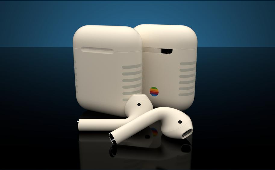 กล่องด้าหน้าและหลัง ของ AirPods Retro