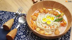 อุด้งกุ้งเทมปุระ มีไข่นกกระทา น่ารักตามสไตล์กล่องข้าวน้อยค่ะแม่
