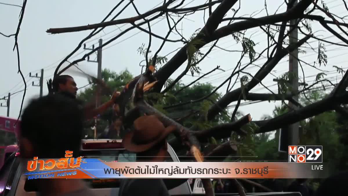 พายุพัดต้นไม้ใหญ่ล้มทับรถกระบะ จ.ราชบุรี
