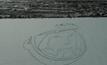 """ภาพเหมือน """"ยูริ กาการิน"""" บนพื้นผิวน้ำแข็งของทะเลสาบ"""