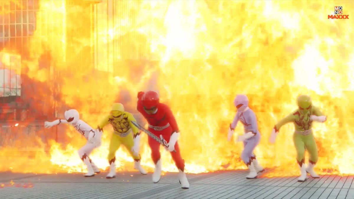 ฉากขบวนการสัตว์ป่าจูโอเจอร์กำจัดเหล่าร้าย จากซีรีส์ Doubutsu Sentai Zyuohger ขบวนการสัตว์ป่าจูโอเจอร์