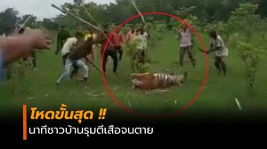 โหดกว่าเสือก็คนนี่แหละ! นาทีชาวบ้านรุมตีมันจนตาย