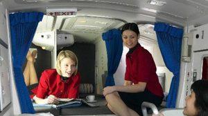มาแอบดู มุมพักผ่อนของพนักงานบนเครื่องบิน