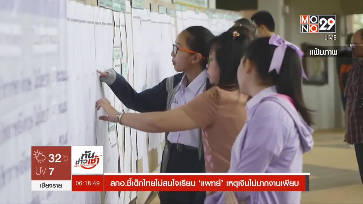สกอ.ชี้เด็กไทยไม่สนใจเรียน 'แพทย์' เหตุเงินไม่มากงานเพียบ