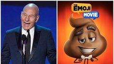 แพทริก สจ๊วต ให้เสียงพากย์เป็นอีโมจิตัวนี้ ในแอนิเมชั่น The Emoji Movie