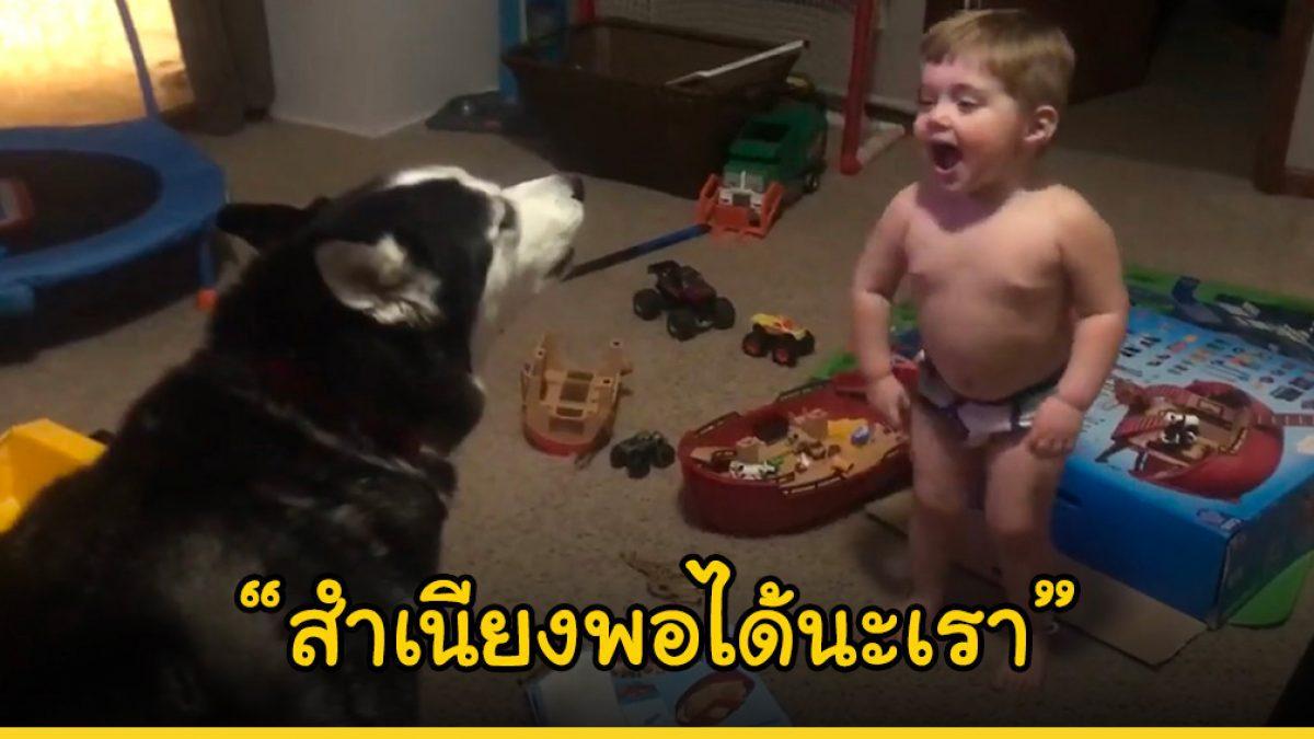 เด็กชายตัวน้อยเรียนรู้ที่จะพูดภาษาเดียวกับไซบีเรียนฮัสกี้พี่เลี้ยงสี่ขาของเขา