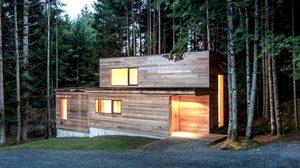 เห็นแล้วจะกรี๊ด! บ้านไม้ ขนาด 825 ตารางฟุต สไตล์มินิมอล ในป่าใหญ่