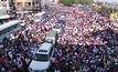 ประท้วงปิดถนนในกรุงโคลัมโบของศรีลังกา