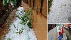 นึกว่าหิมะตก! ภาพลูกเห็บตกเกลื่อนจังหวัดน่าน หลังพายุหลงฤดูพัดถล่ม