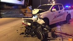 หนุ่ม 18 ขี่มอเตอร์ไซค์ย้อนศร พุ่งชนรถกระบะ เสียชีวิตคาที่ใต้ท้องรถ