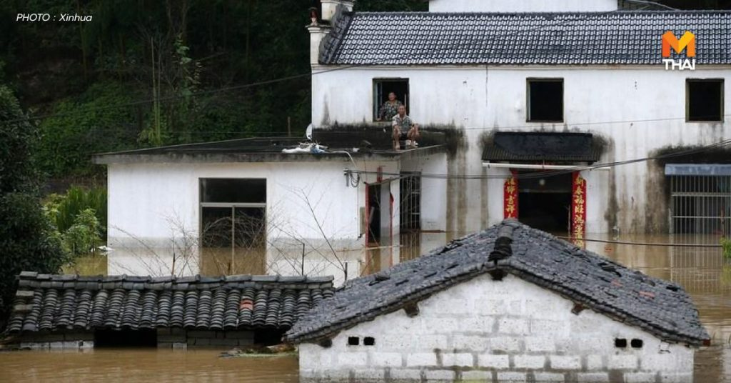 น้ำท่วมหมู่บ้านไป๋กั่วซู่ ตำบลซานโข่ว เมืองหวงซาน มณฑลอันฮุย