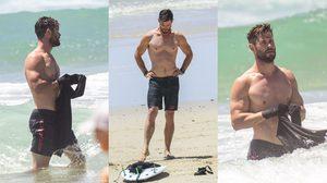 ทะเลเดือด ส่องหุ่นฟิตๆ เทพเจ้าธอร์ Chris Hemsworth บนชายหาด