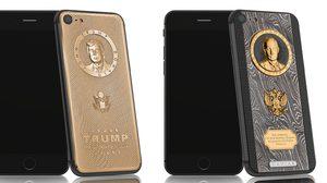 iPhone 7 ทองคำ ที่สลักหน้า Donald Trump และ Vladimir Putin ไว้ด้านหลัง