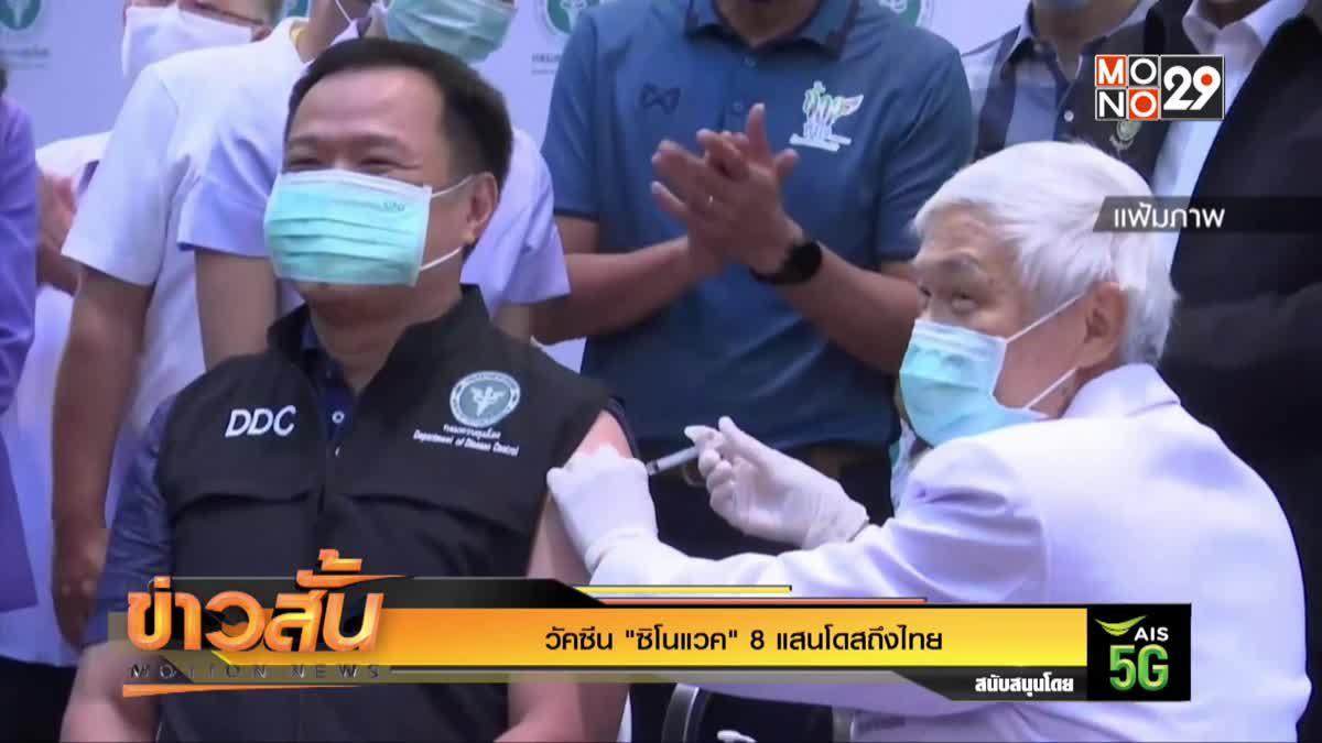 """วัคซีน """"ซิโนแวค"""" 8 แสนโดสถึงไทย"""
