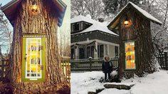 ไอเดียดี!เปลี่ยนซาก ต้นไม้ อายุ 110 ปีให้กลายเป็นห้องสมุดชุมชน