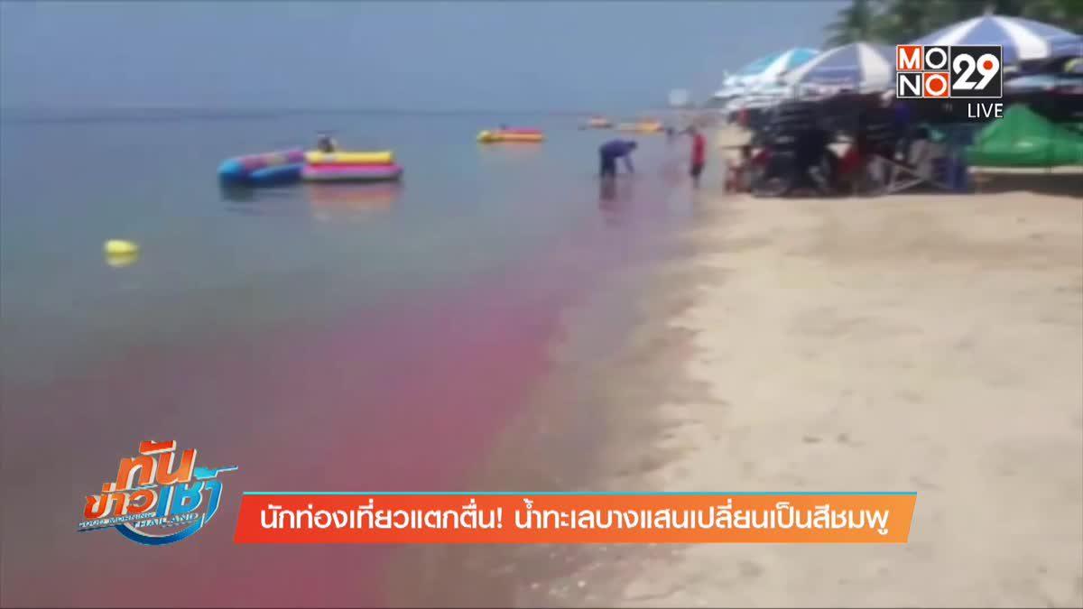นักท่องเที่ยวแตกตื่น! น้ำทะเลบางแสนเปลี่ยนเป็นสีชมพู