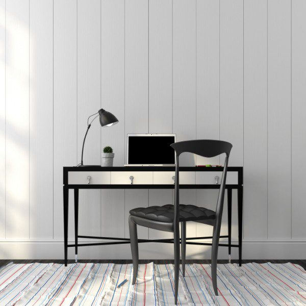 Elegant black chair and table in white interior