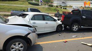 เกิดเหตุ รถยนต์ชนท้ายกัน 5 คันรวด บริเวณหน้ามหาวิทยาลัยพะเยา