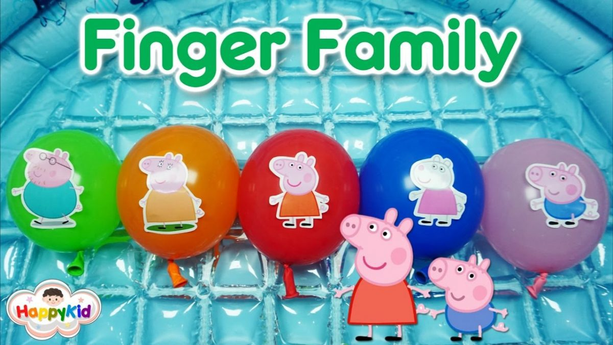 เพลง Finger Family #7 | เจาะลูกโป่ง Peppa Pig | Learn Family Names With Peppa Pig Balloon