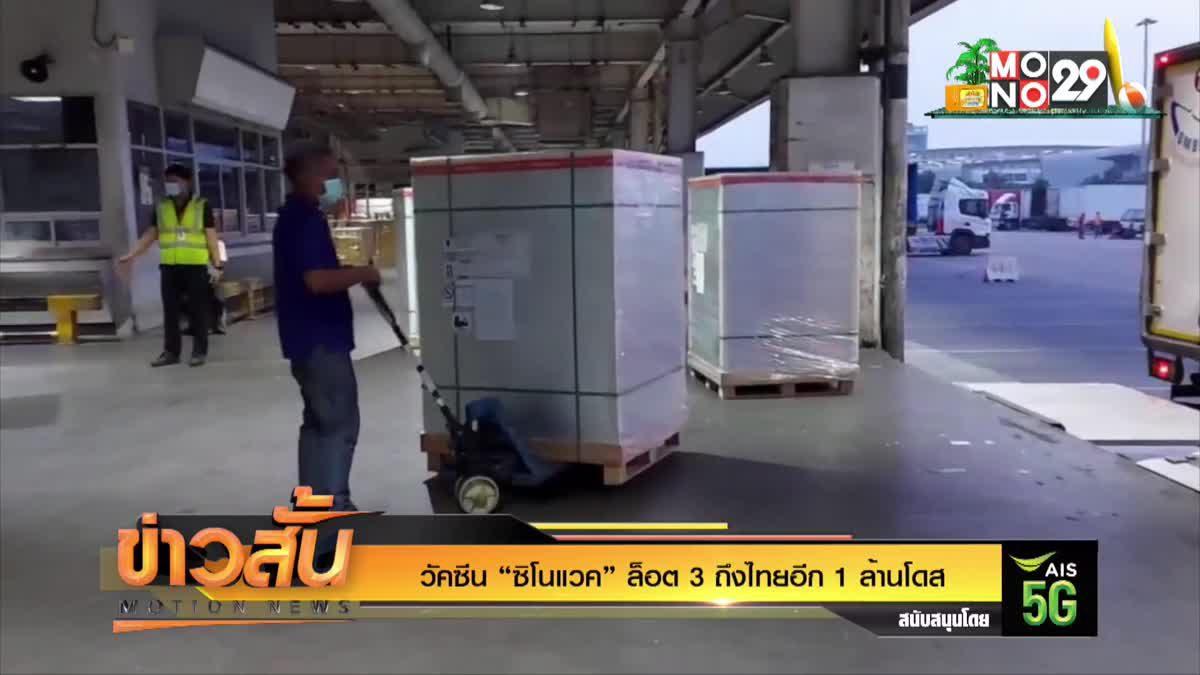 """วัคซีน """"ซิโนแวค"""" ล็อต 3 ถึงไทยอีก 1 ล้านโดส"""