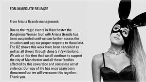 Ariana Grande ประกาศยกเลิกคอนเสิร์ต 'จนกว่าจะประเมินสถานการณ์ได้'!!