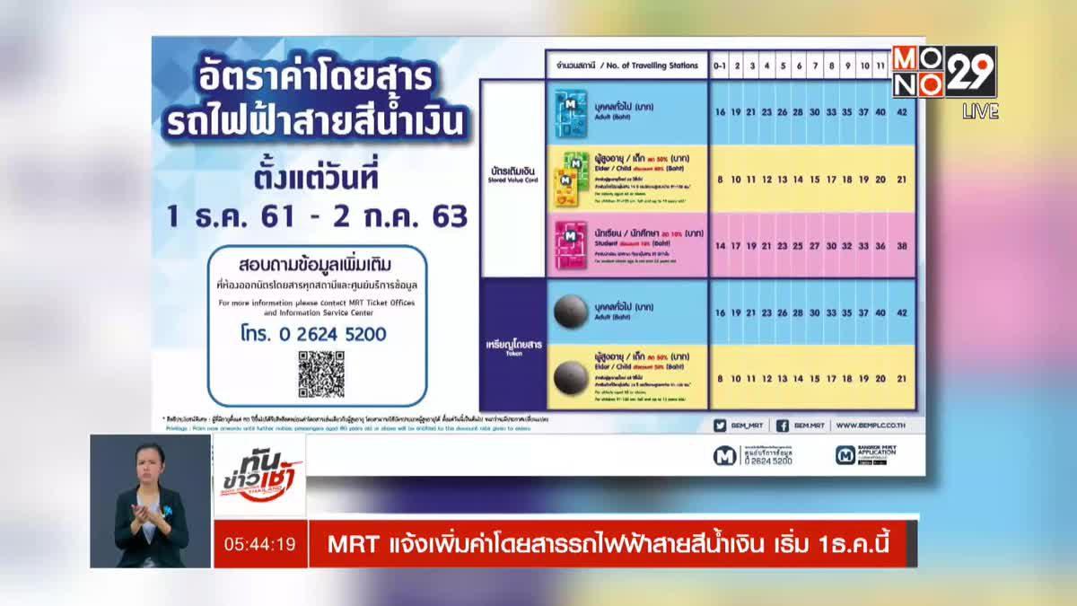 MRT แจ้งเพิ่มค่าโดยสารรถไฟฟ้าสายสีน้ำเงิน เริ่ม 1ธ.ค.นี้