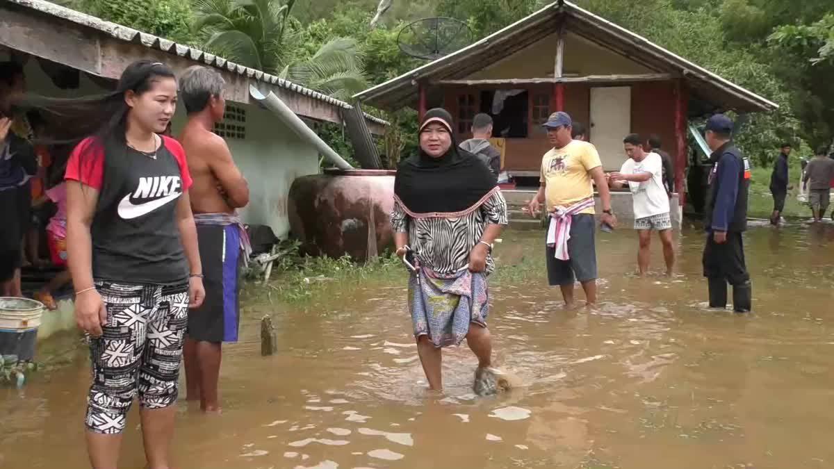 ฝนถล่มเมืองตรัง! น้ำท่วมหมู่บ้านชาวประมงบ้านหาดยาว