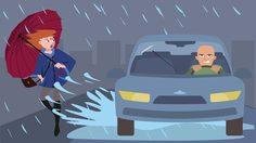 ฝนตก ขับรถเหยียบแอ่งน้ำใส่ผู้อื่น ผิดกฏหมาย โดนฟ้องได้!!