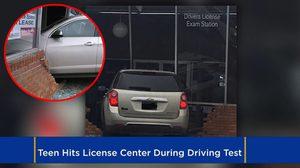 ยังไม่ได้เริ่มสอบ ใบขับขี่ ก็ตกซะแล้ว เพราะสาวน้อยขับรถพุ่งชนตึกสำนักงานเข้าไปเต็มๆ