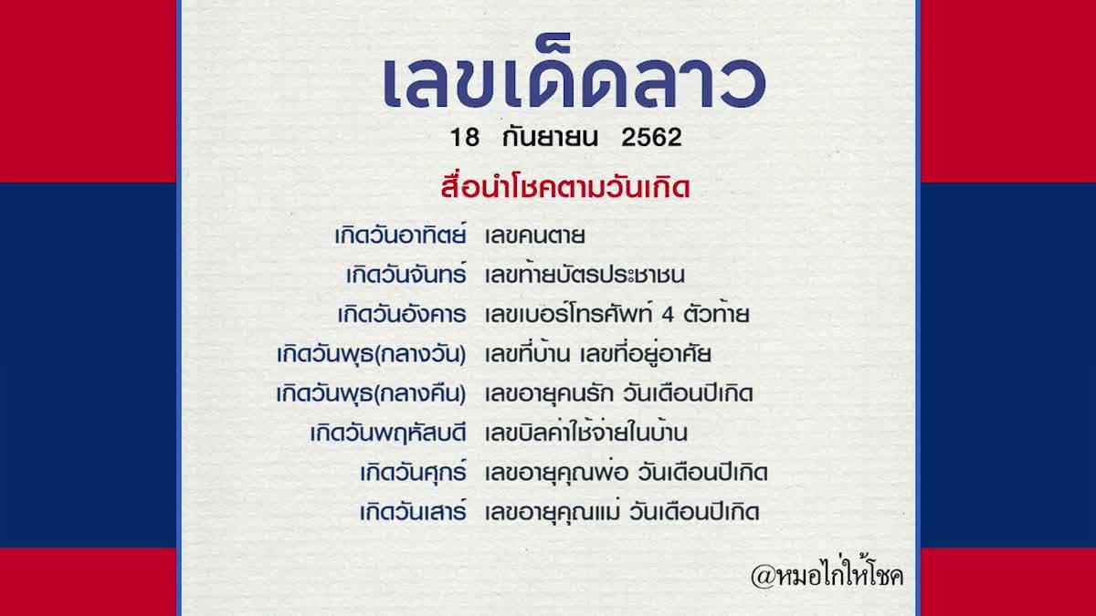 หวยลาว 18 กันยายน 2562 หมอไก่ให้โชค หวยไทย หวยลาวมาตามกันไหม?