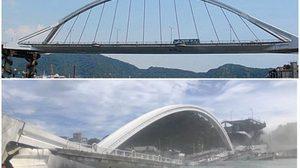 นาทีสะพานข้ามแม่น้ำ ที่ไต้หวันถล่ม!! ทับเรือประมง-ทำรถบรรทุกจมลงน้ำ
