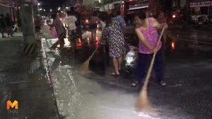 ชัยนาทเร่งล้างถนน คืนพื้นที่จราจร พบคราบแป้งลงท่อระบายน้ำกว่า 1 ตัน