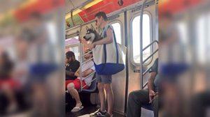 น่ารัก ! หนุ่มหิ้วสุนัขไซบีเรียน ขึ้นซับเวย์