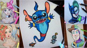 ภาพวาดดินสอสี ที่นำการ์ตูน 2 คาแรคเตอร์ มารวมกันให้เป็น 1 ได้อย่างกลมกลืน