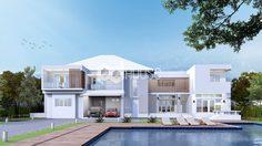 แจก! แบบบ้านแนวโมเดิร์น บ้านเดี่ยวสองชั้น สีขาว ขนาด 710 ตารางเมตร