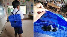 คุณพ่อชาวกัมพูชา ถักกระเป๋านักเรียนด้วยเชือกฟางให้ลูกไปโรงเรียน