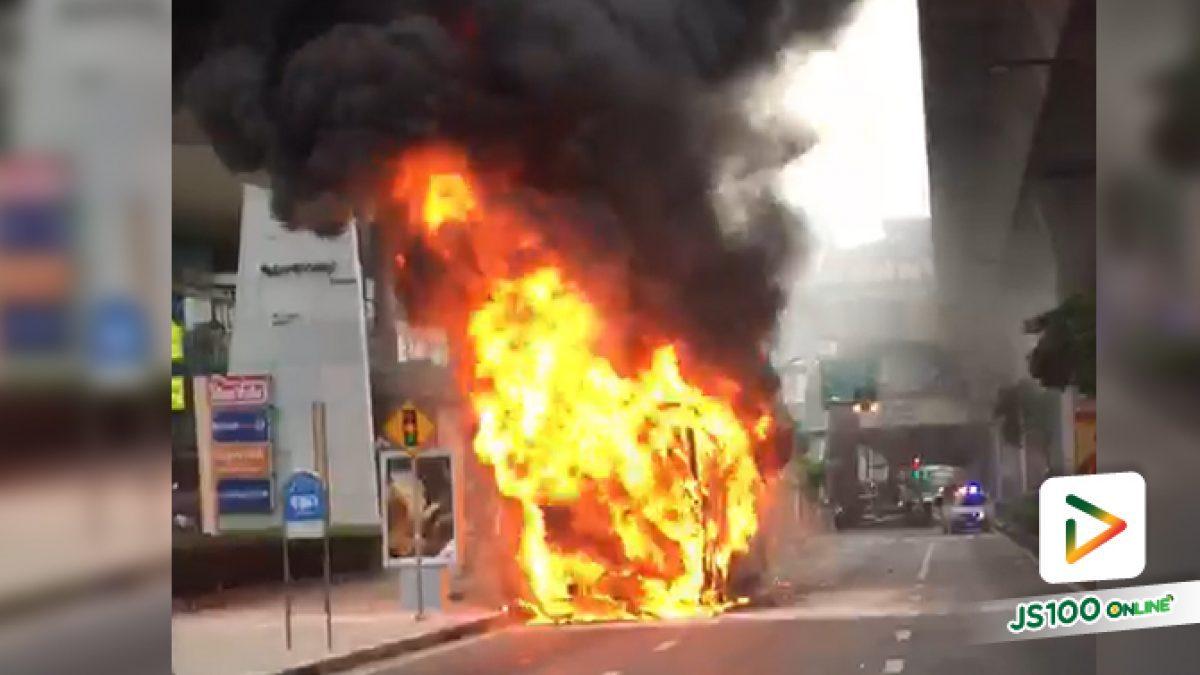 เพลิงไหม้ รถเมล์สาย ปอ.40  ทะเบียน 14-1341กทม. ที่หน้าเกตเวย์ เอกมัย ถ.สุขุมวิท ขาเข้า ไม่มีผู้โดยสารได้รับบาดเจ็บ